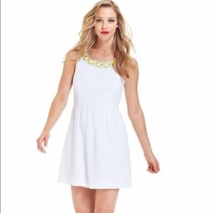 Kensie cotton eyelet embelished white mini dress